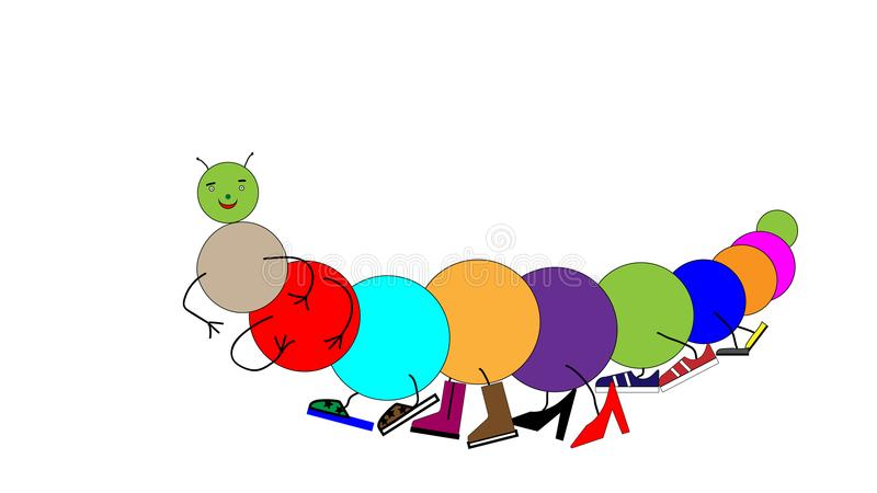 Um centípede da lagarta dos desenhos animados em sapatas coloridas Lotes das sapatas nos pés Vetor ilustração stock