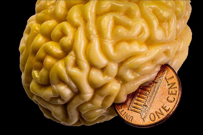 Um centavo pelos seus pensamentos - mente em seu dinheiro e em seu dinheiro em sua mente imagem de stock