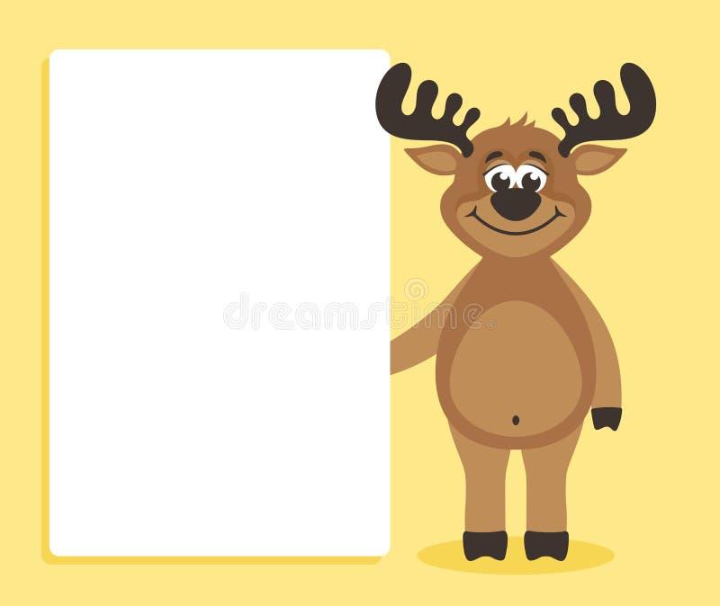 Um cervo feliz que guarda o papel vazio para seu texto ilustração stock
