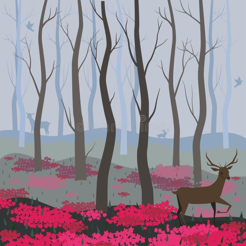 Um cervo no fundo do vetor da floresta feericamente para o projeto dos cart?es, bandeiras, p?gina da web, insetos e outro ilustração do vetor