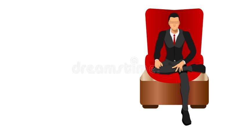 Um chefe senta-se livremente em uma cadeira luxuosa vermelha imagens de stock royalty free