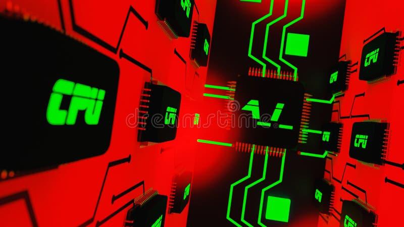 Um chip de computador da inteligência artificial ilustração royalty free