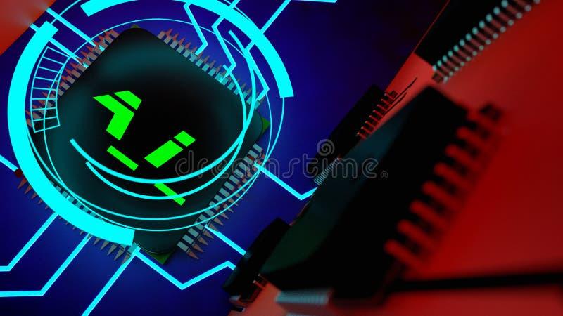 Um chip de computador da intelig?ncia artificial ilustração stock