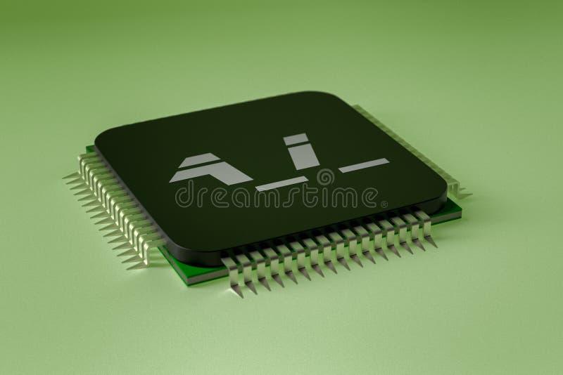 Um chip de computador da intelig?ncia artificial ilustração do vetor