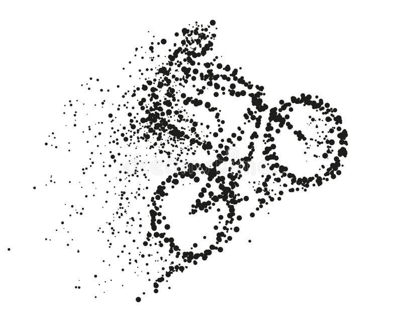 Um ciclista monta uma ilustração divergente da silhueta da partícula da bicicleta Conceito extremo do ciclismo do vetor no fundo  ilustração royalty free