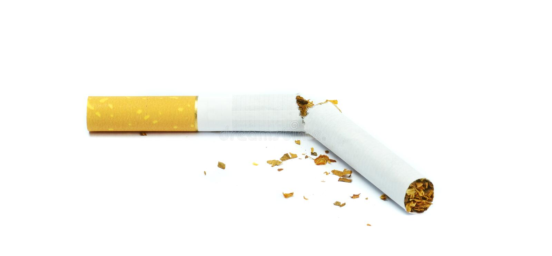 Um cigarro quebrado ao meio fotografia de stock royalty free