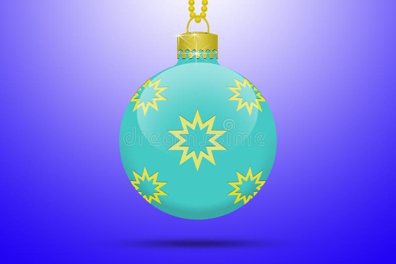 Um claro - bola de suspensão da árvore de Natal de turquesa azul com os ornamento dourados das estrelas em um fundo azul com alar ilustração stock