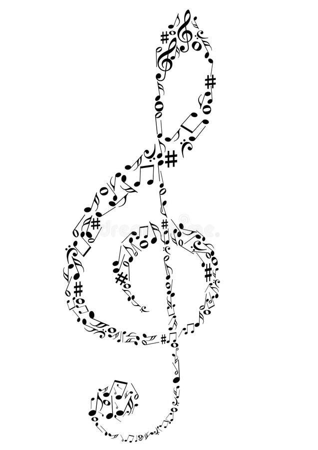 um clef de G com notas da música ilustração stock
