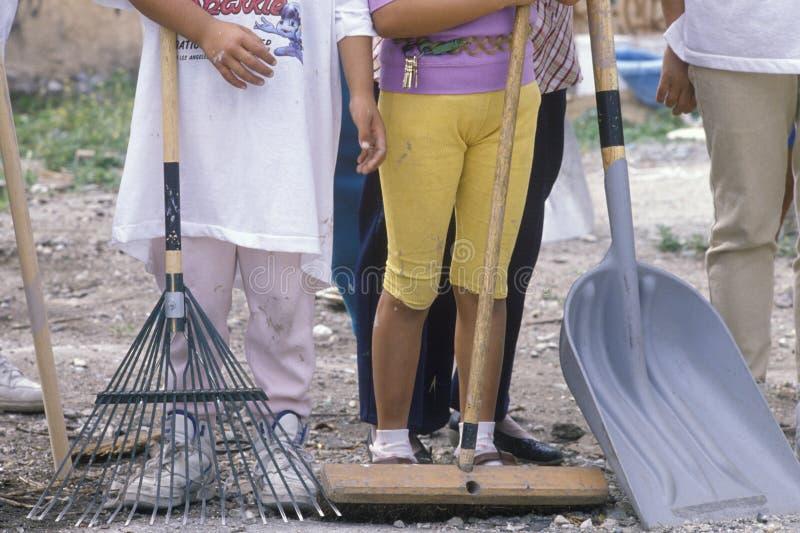 Um close-up das mulheres que guardam ferramentas da limpeza fotografia de stock royalty free