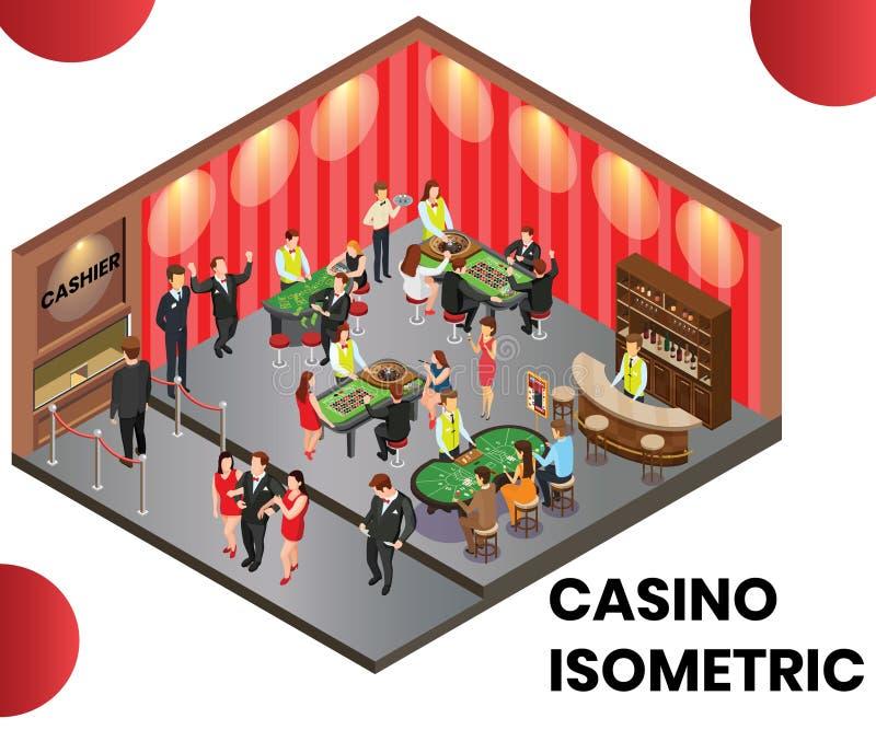 Um clube do casino onde os povos estão jogando o conceito isométrico da arte finala ilustração do vetor