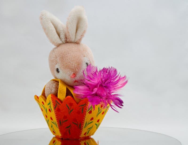 Um coelhinho da Páscoa na cesta colorida imagem de stock