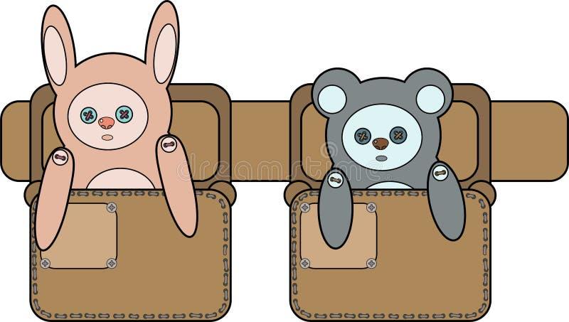 Um coelho do brinquedo e para carregar os sacos na correia ilustração stock