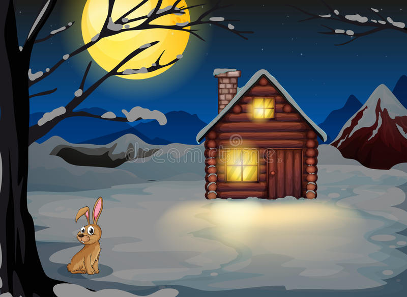 Um coelho fora da casa em um cenário do luar ilustração do vetor