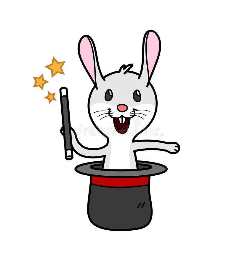 Um coelho que guarda uma vara mágica que sai de um chapéu do ` s do mágico que executa o truque ilustração stock