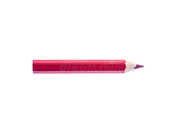 Um coloriu o lápis vermelho isolado no fundo branco imagem de stock
