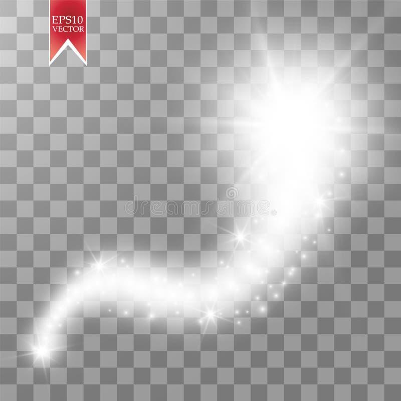Um cometa brilhante com a grande estrela de queda da poeira Efeito da luz do fulgor Luzes douradas Ilustração do vetor ilustração stock