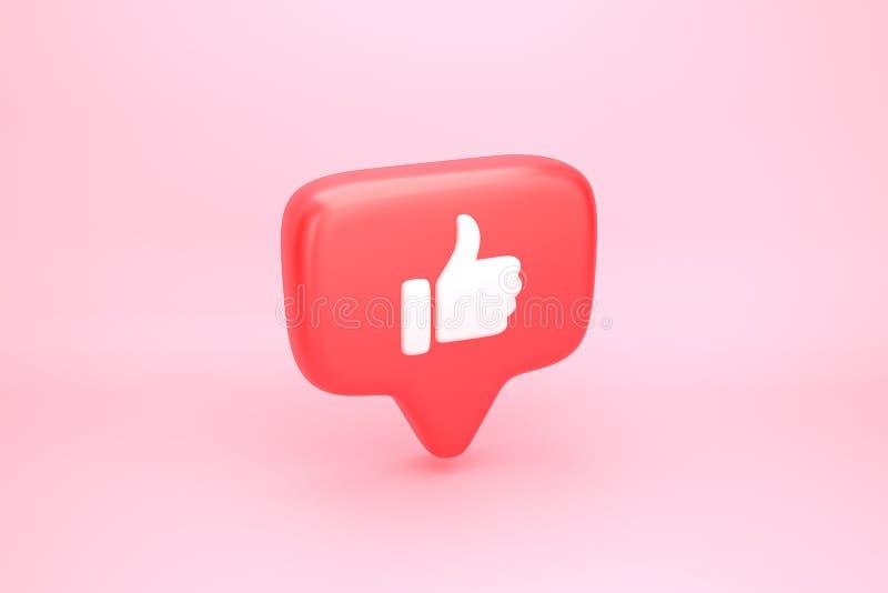 Um como a notificação social dos meios com o polegar acima do ícone ilustração royalty free