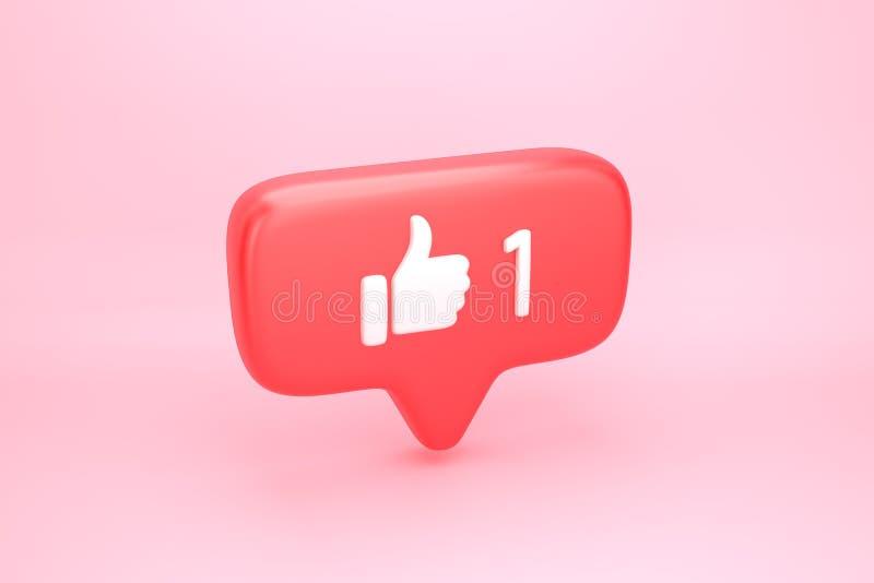 Um como a notifica??o social dos meios com o polegar acima do ?cone ilustração stock