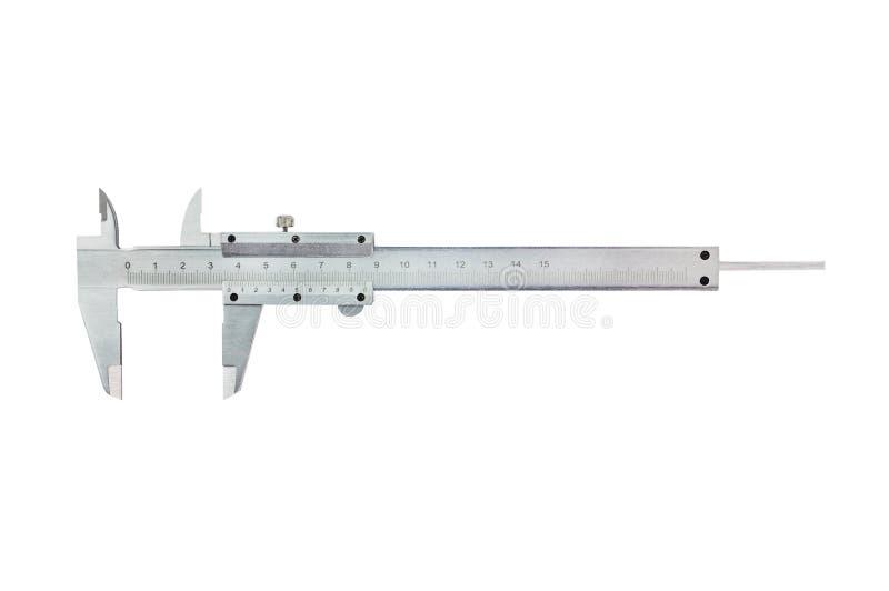 Um compasso de calibre vernier do metal no fundo branco Vista superior imagens de stock