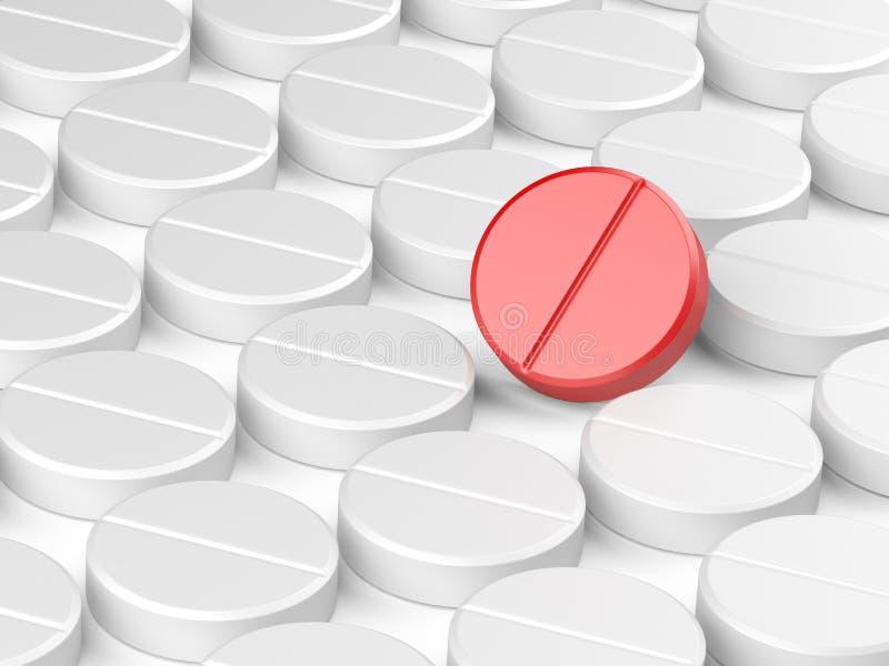 Um comprimido vermelho em muitos branco ilustração stock