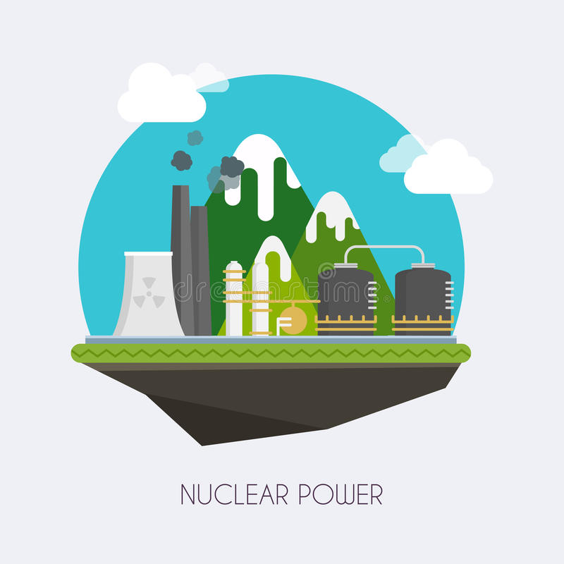 Um conceito da energia verde renovável: uma margarida e uma grama sobre o símbolo de potência nuclear quebrado Paisagem e constru ilustração do vetor