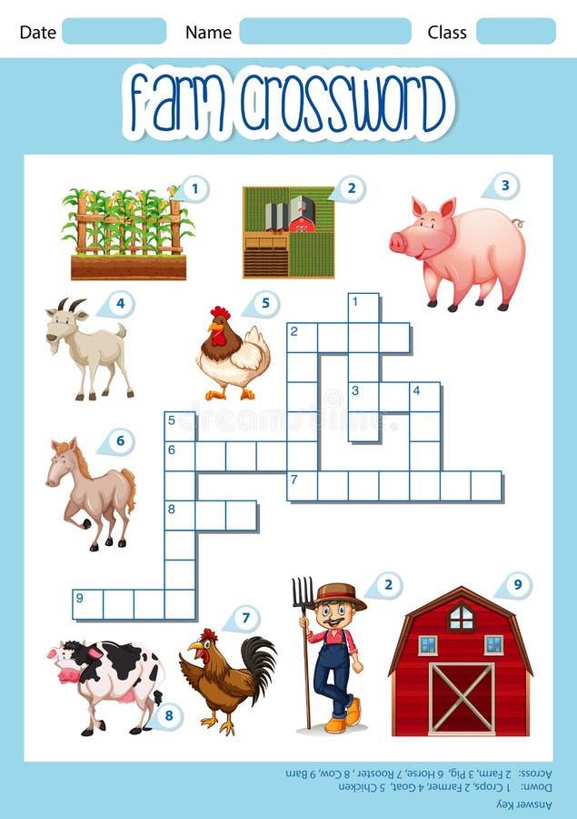 Um conceito das palavras cruzadas da exploração agrícola ilustração royalty free