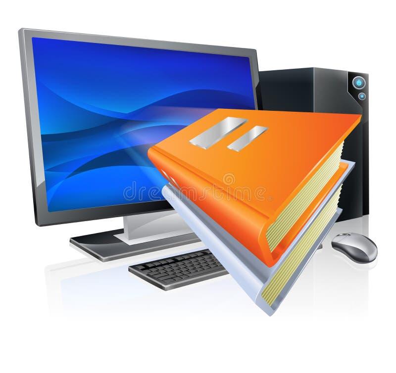Conceito do livro do computador do ensino electrónico da educação ilustração royalty free