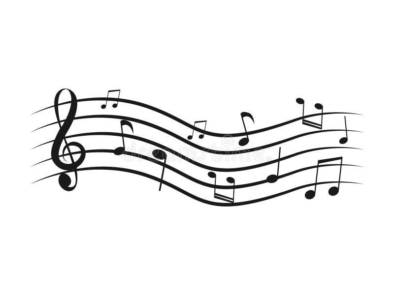 Um conceito maravilhoso de notas da música com elementos diferentes ilustração royalty free