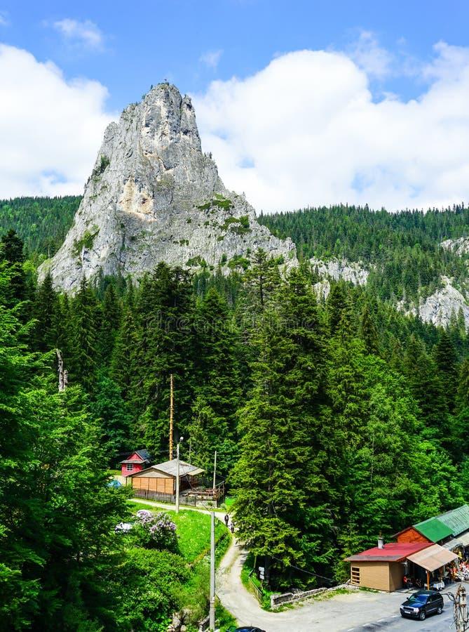 Um cone da rocha em montanhas de Celhau em Romênia fotos de stock royalty free