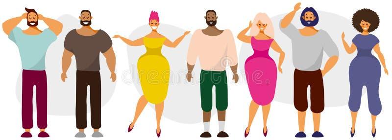 Um conjunto de personagens simples, homens e mulheres de diferentes nacionalidades, design plano ilustração royalty free