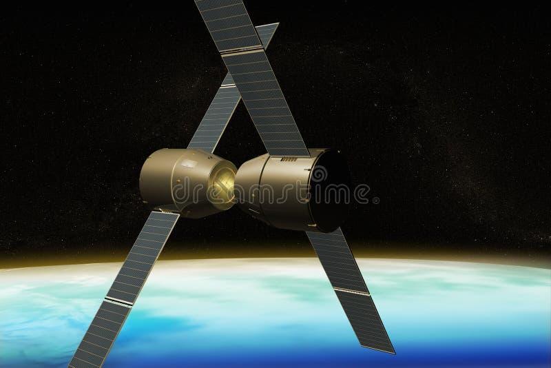 Um conjunto dos módulos da estação espacial no espaço ilustração do vetor