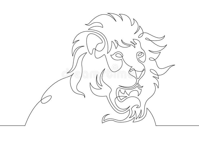 Um contínuo escolhe a linha tirada garatuja da arte a cabeça de uma juba de um leão ilustração royalty free