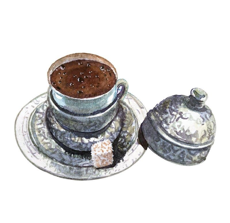 Um copo da aquarela do café turco imagem de stock