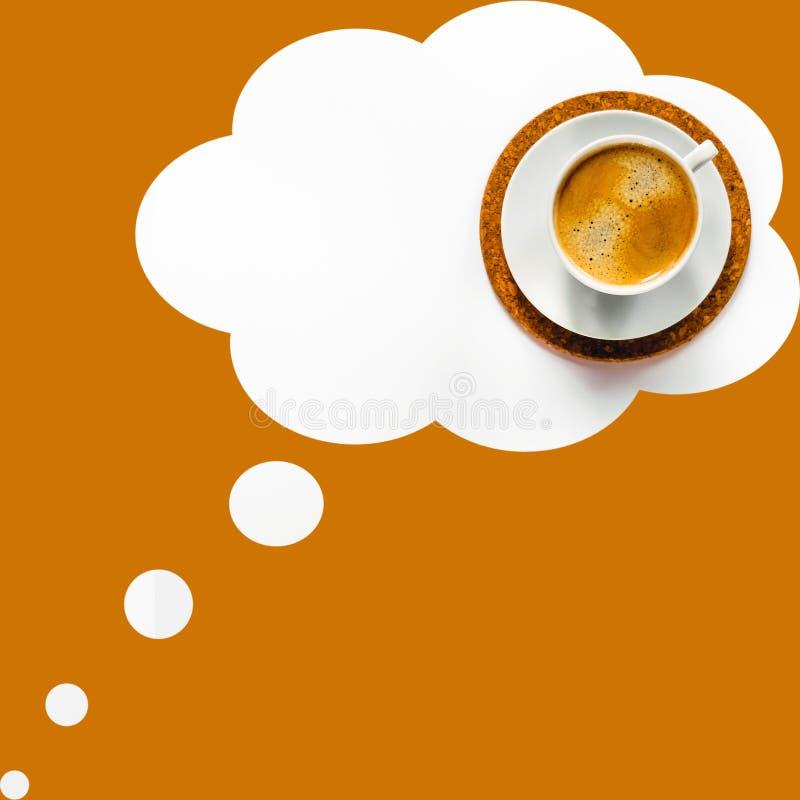 Um copo do café em seus sonhos imagens de stock