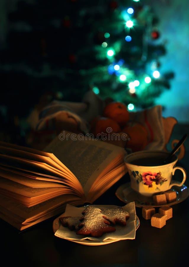 Um copo do chá e de um bookok aberto fotos de stock