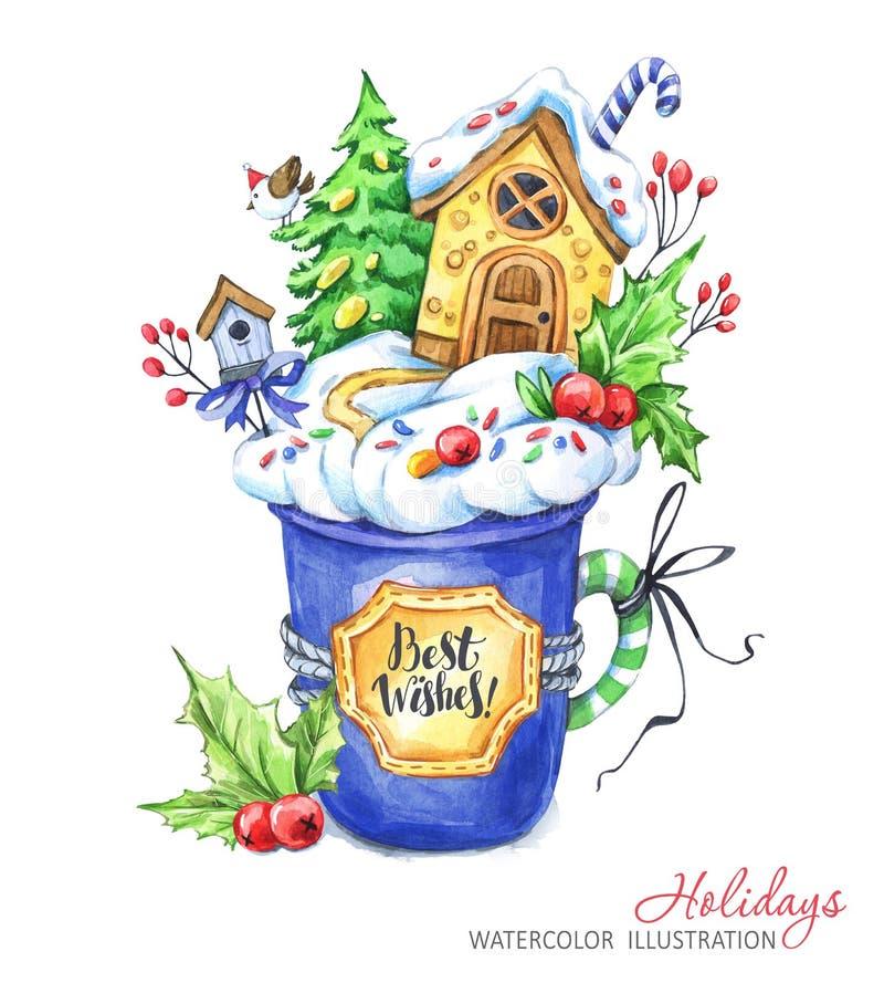 Um copo do creme e de uma casa de pão-de-espécie para dentro ` S do ano novo da aquarela, ilustração de Chrismas ilustração royalty free