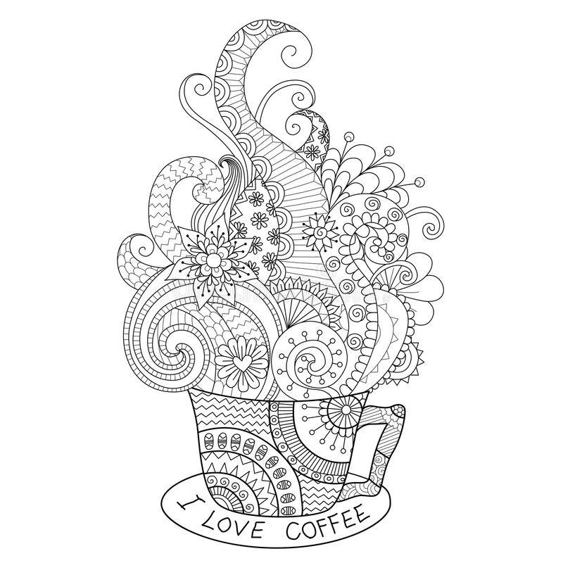 Um copo do projeto quente do zentangle do café para o livro para colorir para o adulto ilustração stock