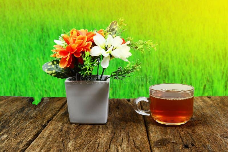 um copo do vaso do chá e do branco com flores frescas fotografia de stock royalty free