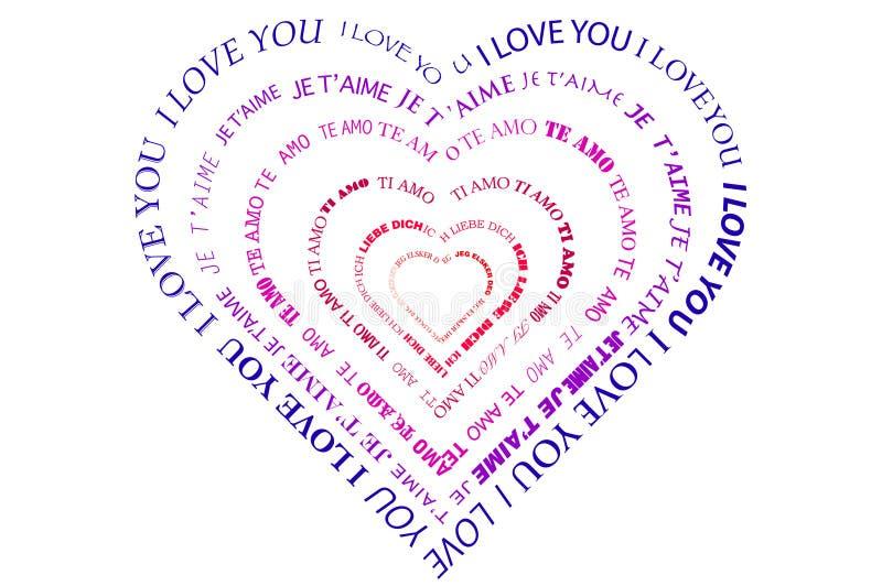 Um coração feito das palavras ilustração do vetor