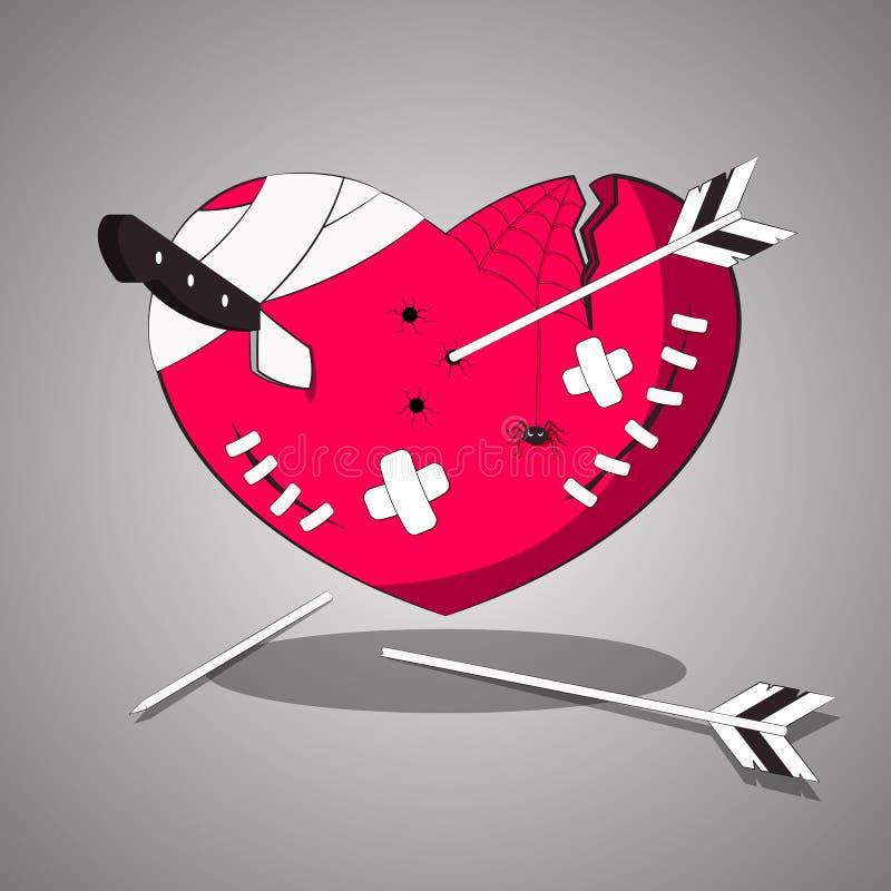 Um coração ferido, torturado com cortes e feridas Ilustração do vetor ilustração stock