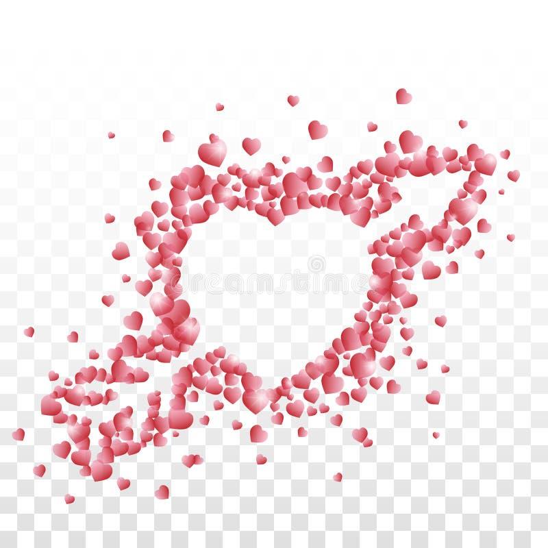 Um coração perfurado com uma seta composta do vermelho pequeno protegeu corações no fundo transparente ilustração stock