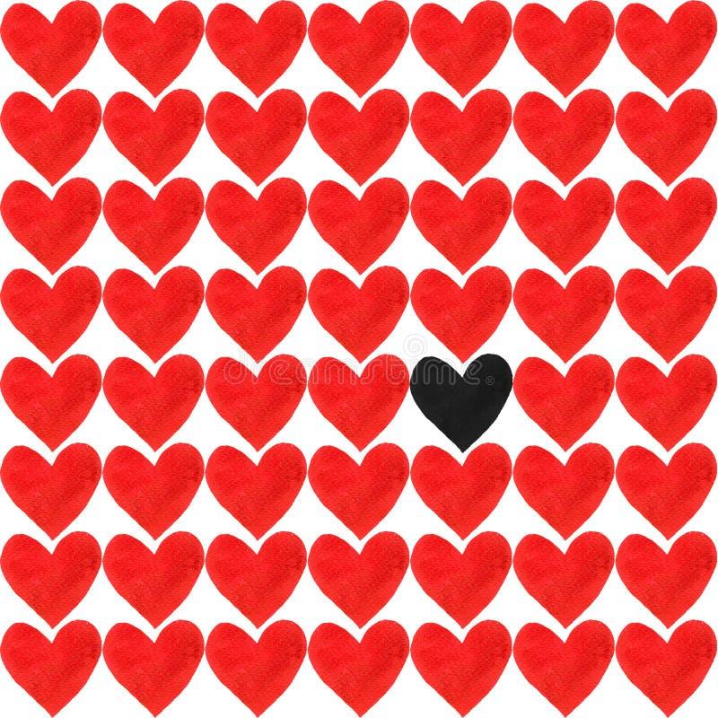 Um coração preto da aquarela com uma multidão de outros corações vermelhos do watercolour no fundo branco foto de stock royalty free