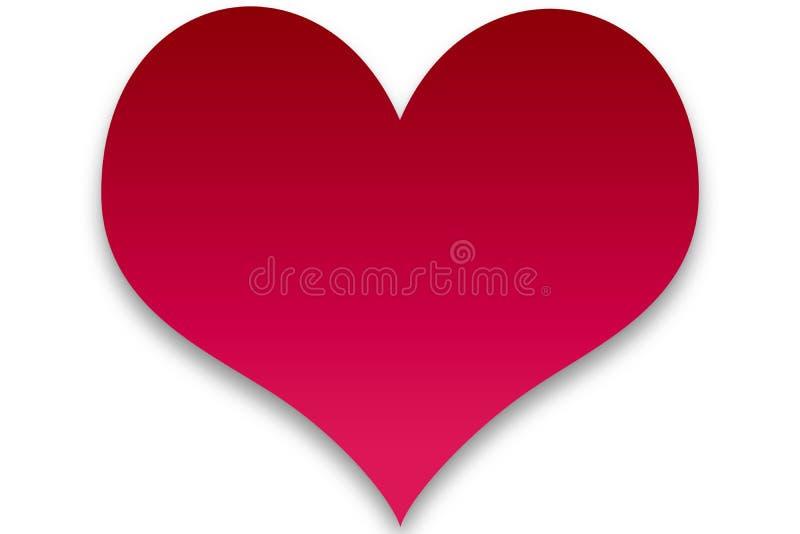 Um coração vermelho de Clipart da mudança gradual ilustração stock