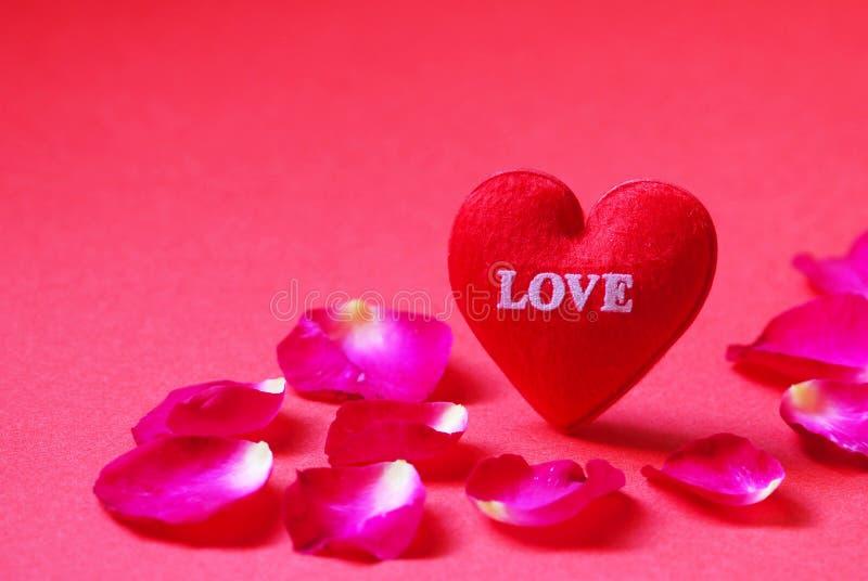Um coração vermelho deu forma com as pétalas do amor e de Rosa no fundo vermelho foto de stock royalty free