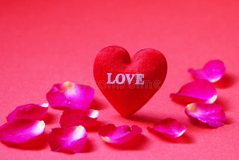 Um coração vermelho deu forma com as pétalas do amor e de Rosa no fundo vermelho imagem de stock royalty free