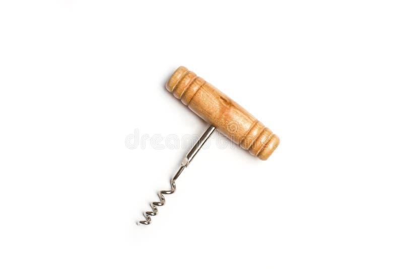 Um corkscrew de madeira e do metal imagem de stock royalty free