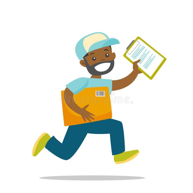Um corredor do correio para entregar um pacote ilustração stock
