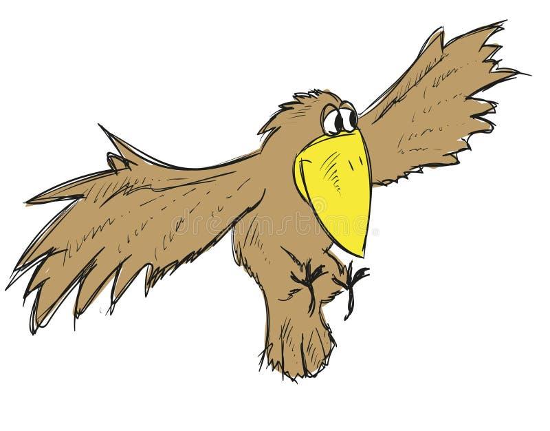 Um corvo bonito dos desenhos animados do voo Pássaro do vetor ilustração stock