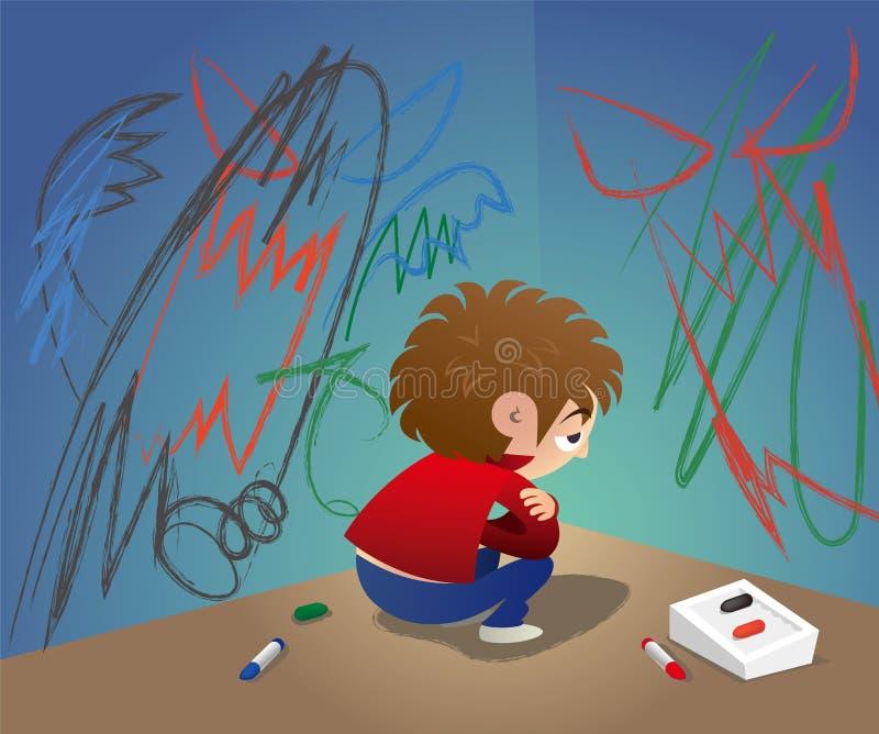 Um couro cru infeliz ele mesmo da criança no canto ilustração do vetor
