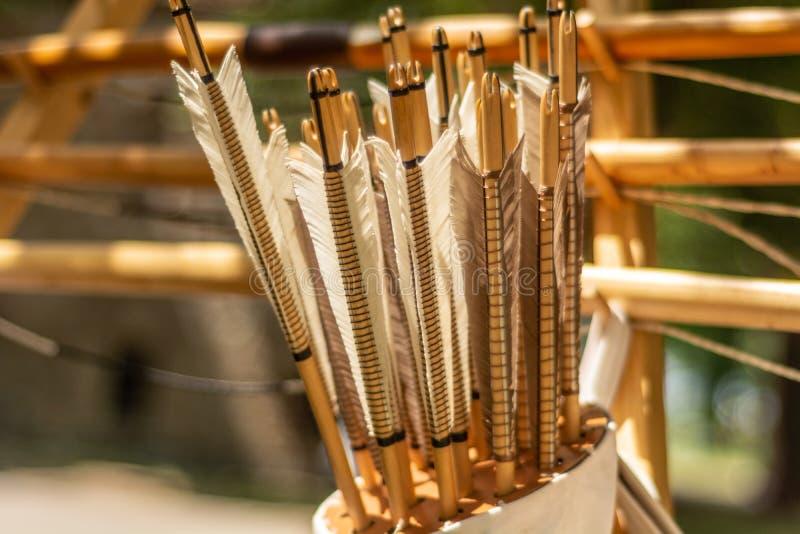 Um couro treme completo com as setas handcrafted crafted no estilo medieval imagem de stock royalty free